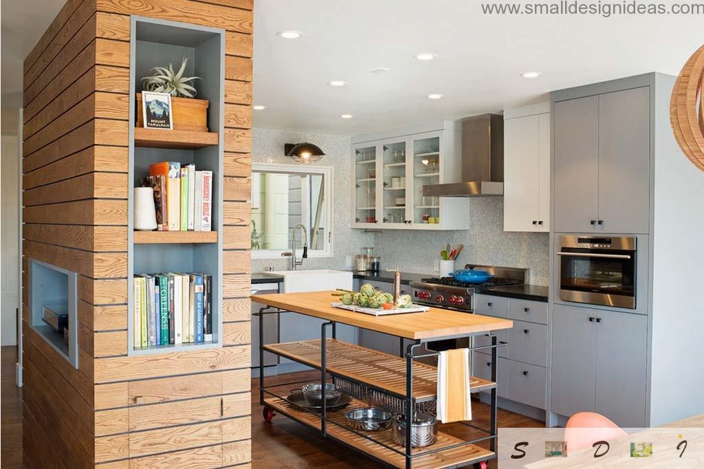 Modern Medium and Large Kitchen Layout Ideas. Unique wooden facing in the modern kitchen with mobile island at the center