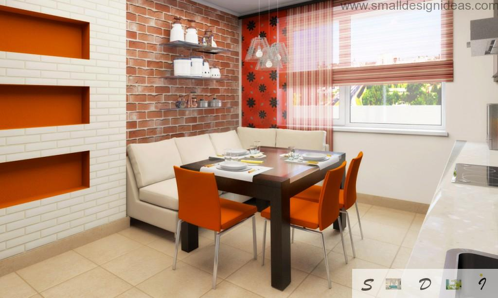 Brickwork in the kitchen is original method to make them red and modern