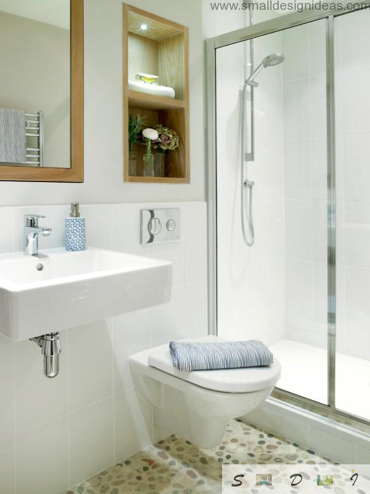 Modern low-key small bath with white colored glossy design