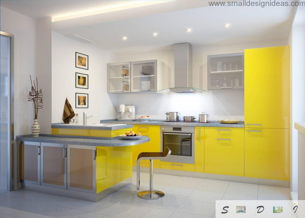 Yellow furniture and white walls for the ultramodern kitchen with the bar and dining zone