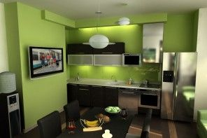 Full-fledged redecoration of the green hi-tech styled kitchen in luscious green color