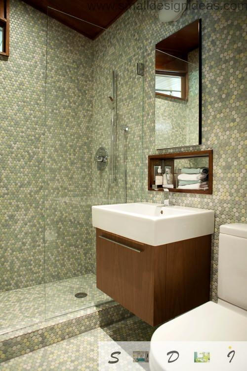 Extra Small Bathroom Design Ideas in pixel tile mosaic of the modern minimalistic bath