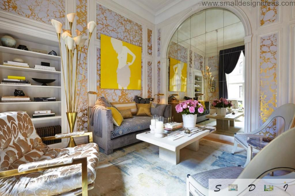 Bright Colorful Living Room Paint Ideas. bright interior with structured wallpaper