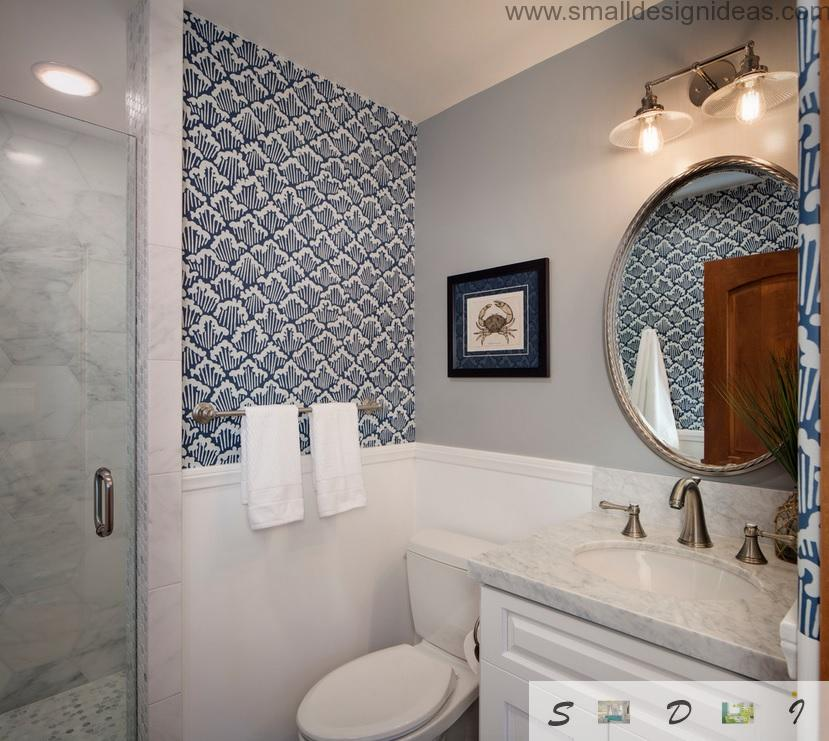 Washable wallpaper in the small bathroom with vivid paint