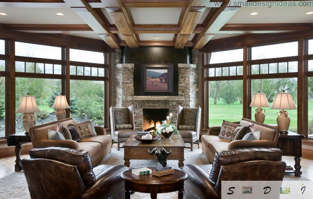 Countryside private house with nice design of the wall overlapping of wood and genuine leather furniture