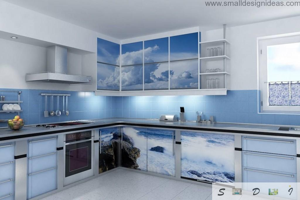 Kitchen Walls Color Ideas. Calming marine atmosphere for phlegmatic people