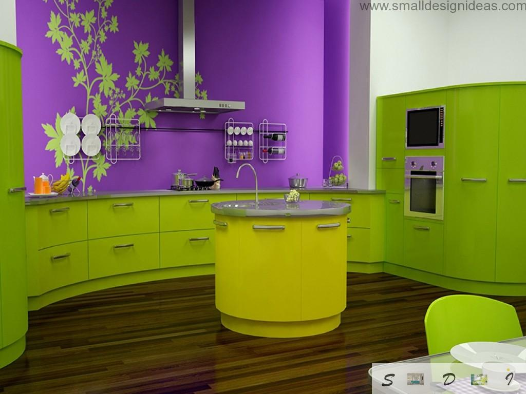Unreal combination of colors in the kitchen: purple and aspid green