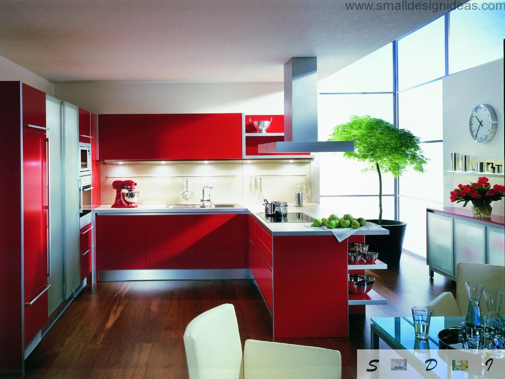 Red color for the kitchen with eco design looks very organic