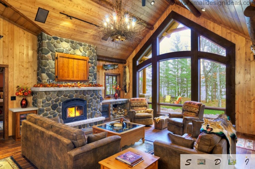 Country Style Furniture Design Ideas with the stone lined fireplace and textile rustic furniture