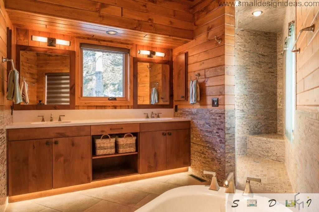 Wooden lined surfaces of the rustic shower in the house