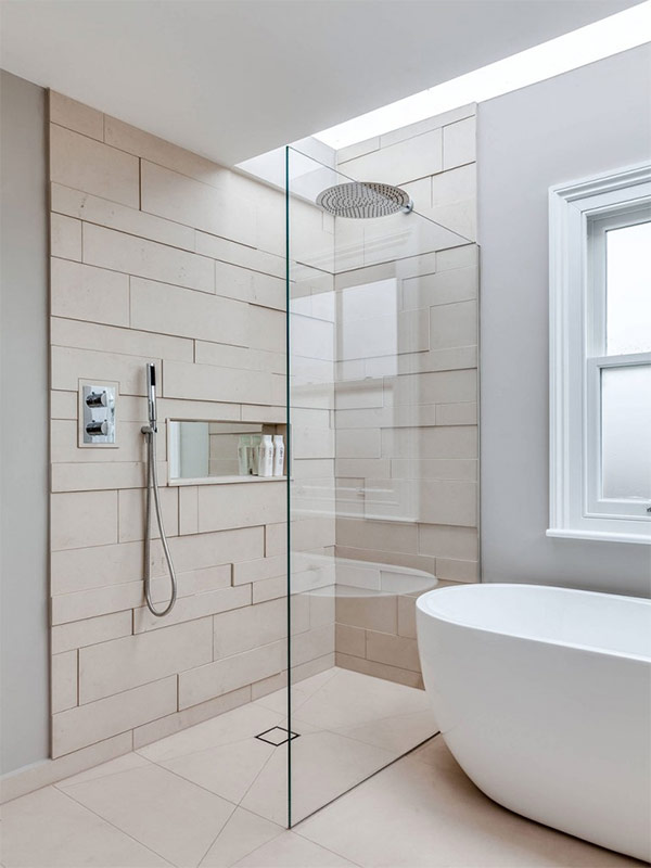 Great matte ceramic tile to form texture in the bathroom