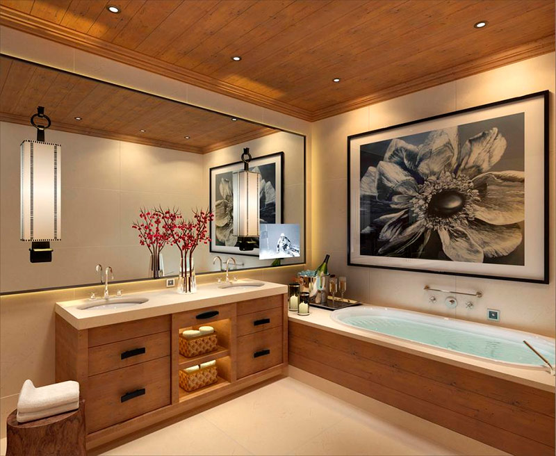 Large wooden trimmed bathroom design