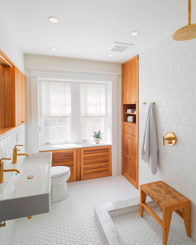 White and noble elm wood with orange tint color combination in the bathroom