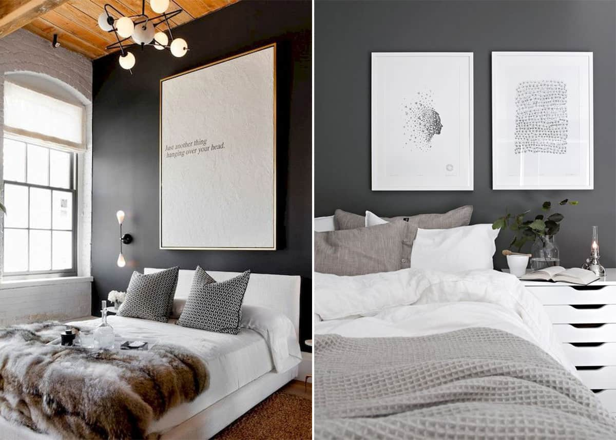 Dark wall paint and light furniture for cozy yet contrasting Scandi bedrooms