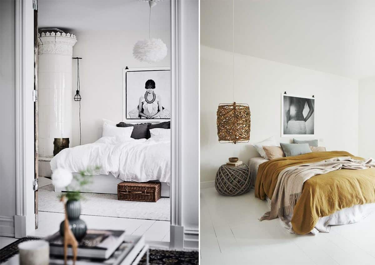 Absolutely white wall finishing and some contrasting decorative elements to make Scandinavian bedroom homey