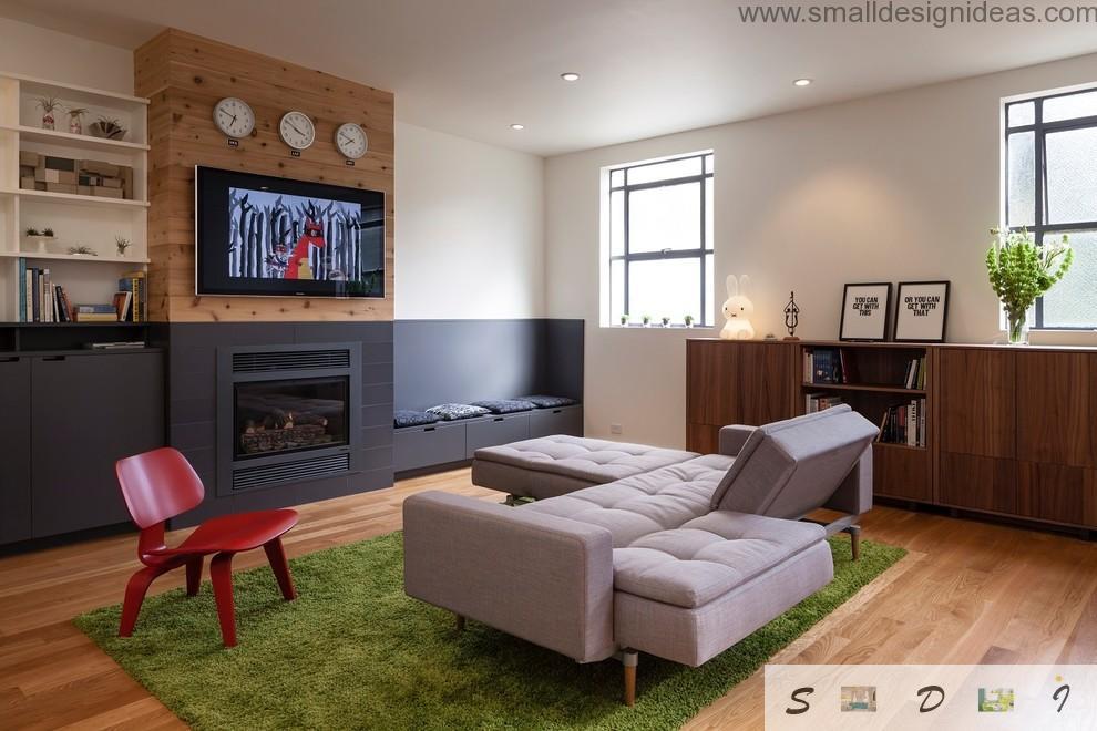 Unusual folding  furniture in the modern eci designed living room