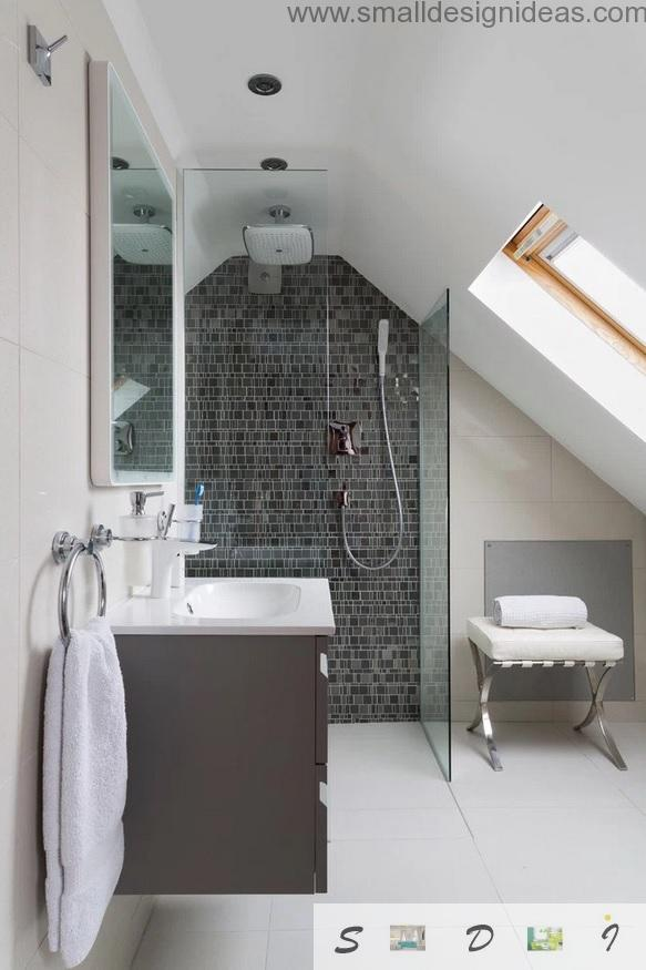 Attic shower design idea with dark gray and white contrast and mosaic