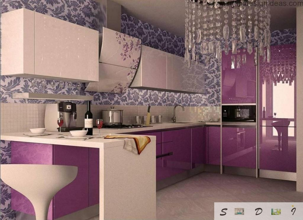 Purple surfaces of the glossy hi-tech style of the middle sized kitchen