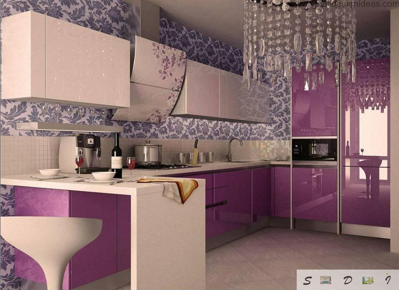 Кухня дизайн фото сиреневый