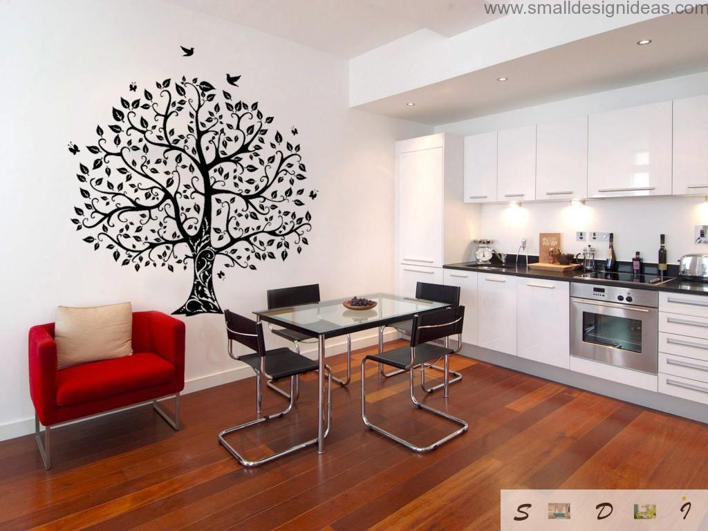 Kitchen Walls Color Ideas. Black contrasting ornament on the white kitchen wall