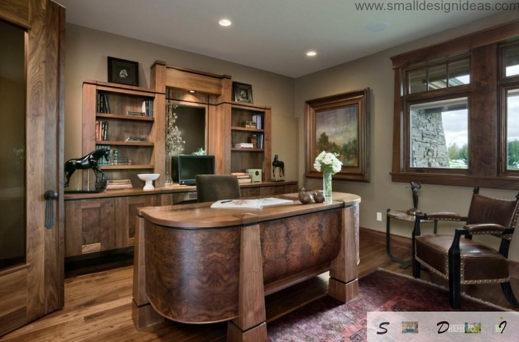 wooden cabinet with massive decorative elements and dark noble color theme