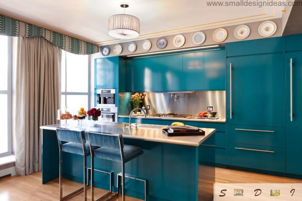Colorful Design Ideas for Modern Kitchen in the blue marine theme