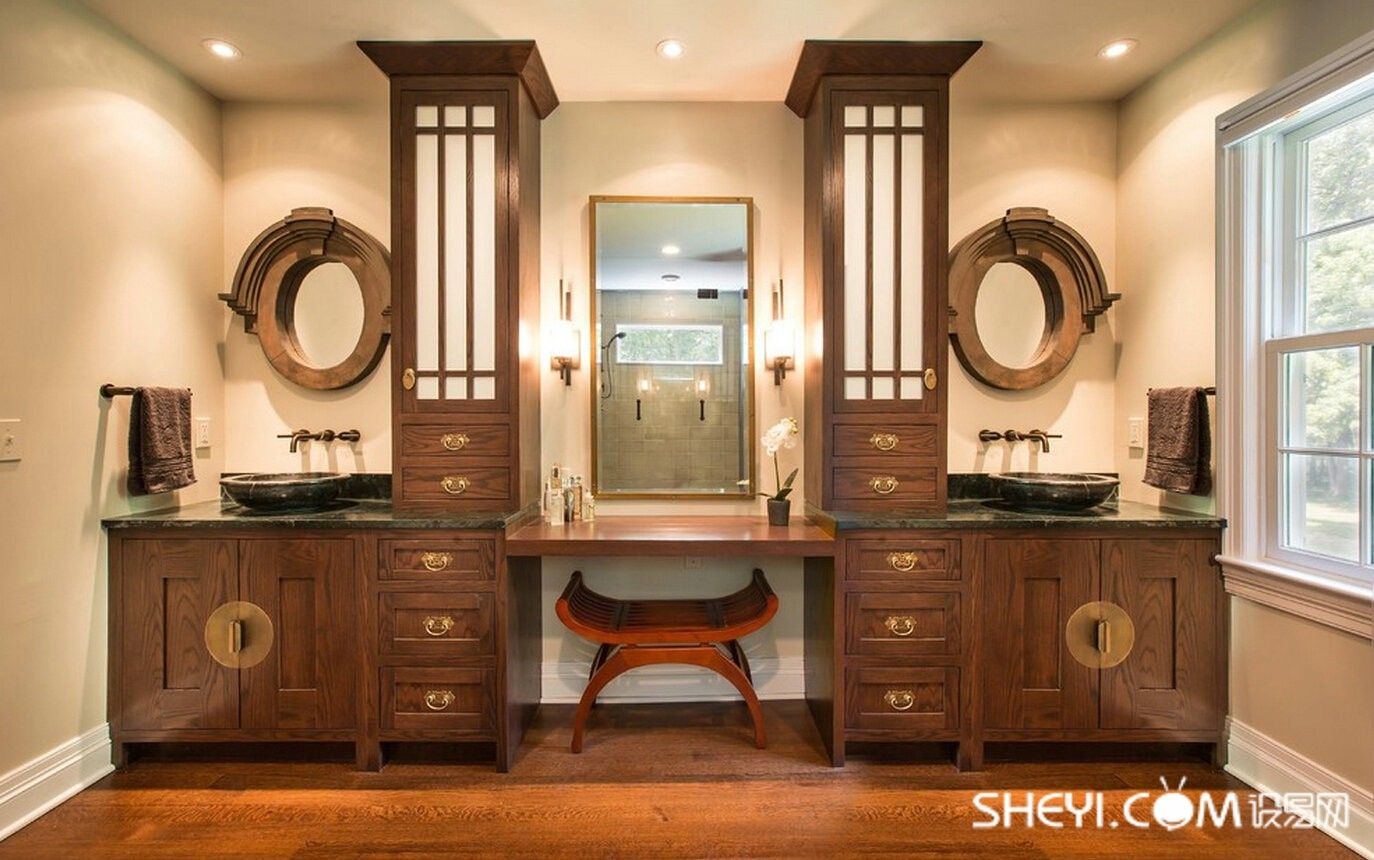 Oriental Style Bathroom Design Ideas With Typical Chinese Forms Of The  Chair And Mirrors