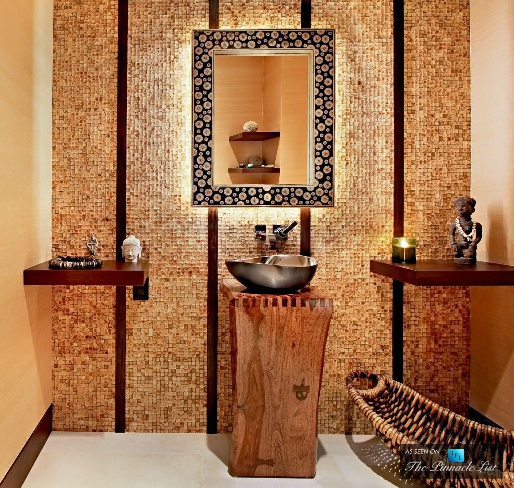 Oriental Style Bathroom Design Ideas. Mosaic tile makes the atmosphere
