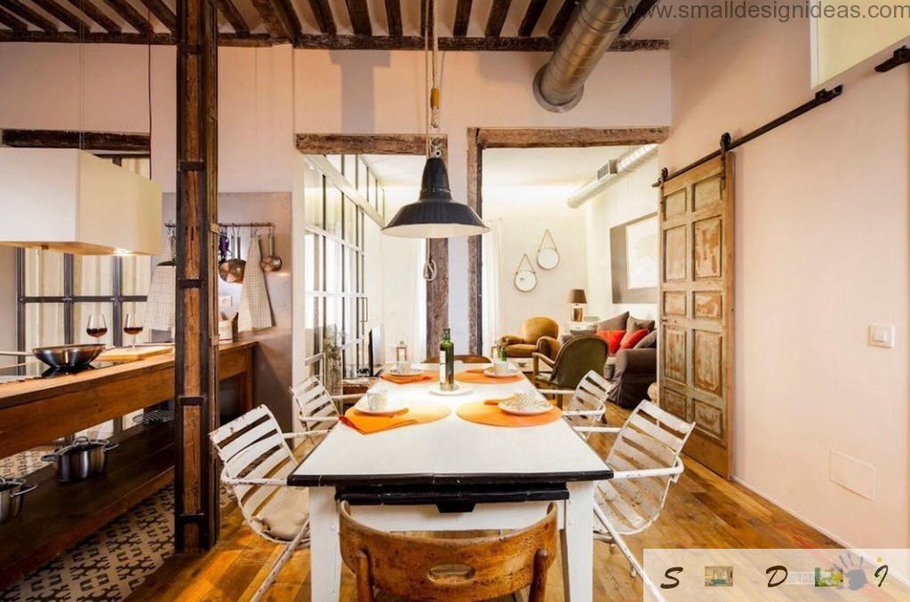 Industrial Interior Design Apartment dining zone full of wooden materials