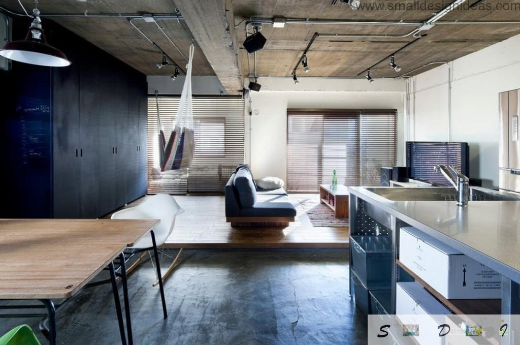 Real Japanese Studio Apartment Loft Design with the lifted up living zone