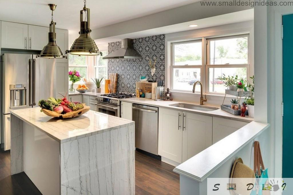 Real Eclectic Kitchen Interior Design of island angle unique form