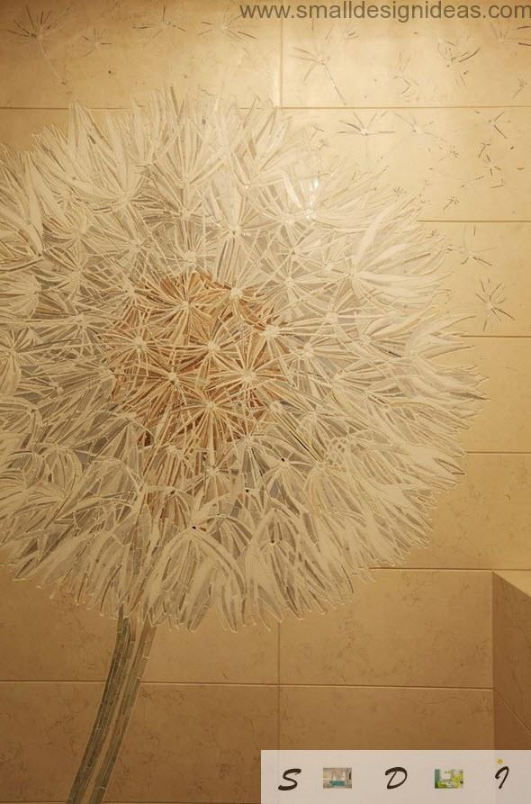 Floristic tile print in the toilet of the modern Moscow apartment