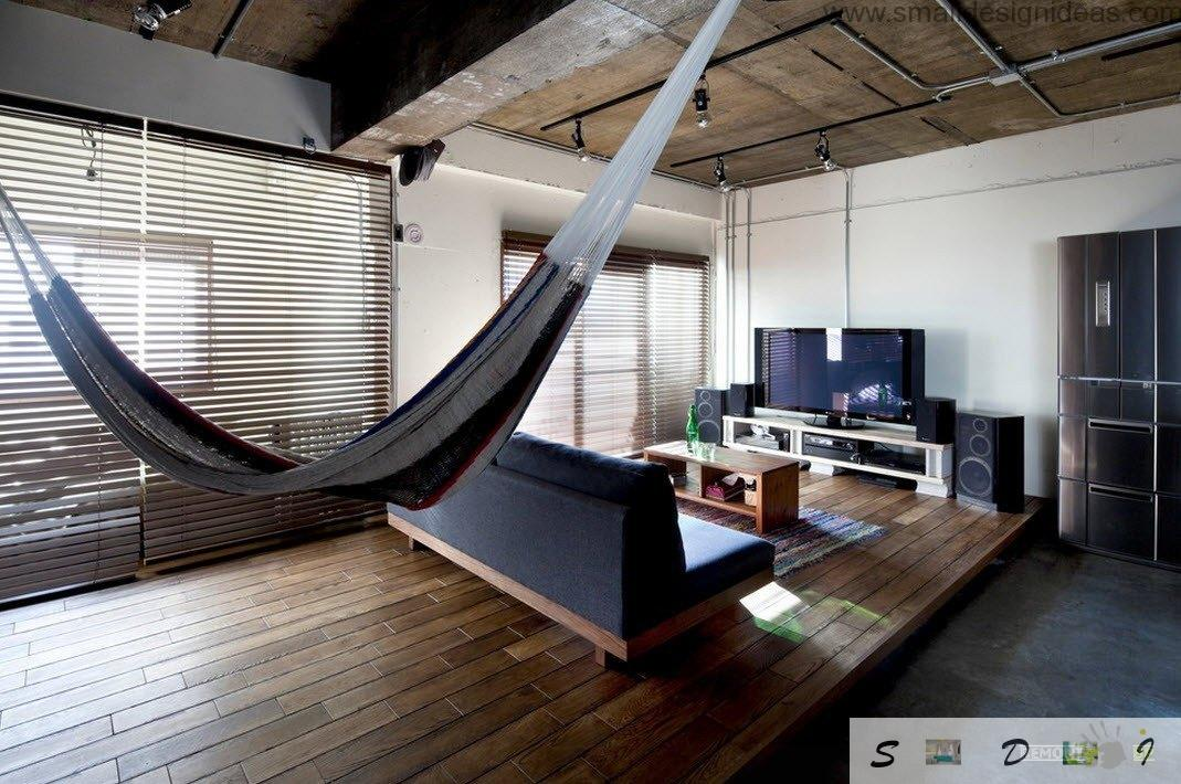 Delightful Hammock Suspended Between The Seating Area And A Large Black Storage System  Has Become An Original Feature. For Someone, This May Seem Like A Piece Of  ...