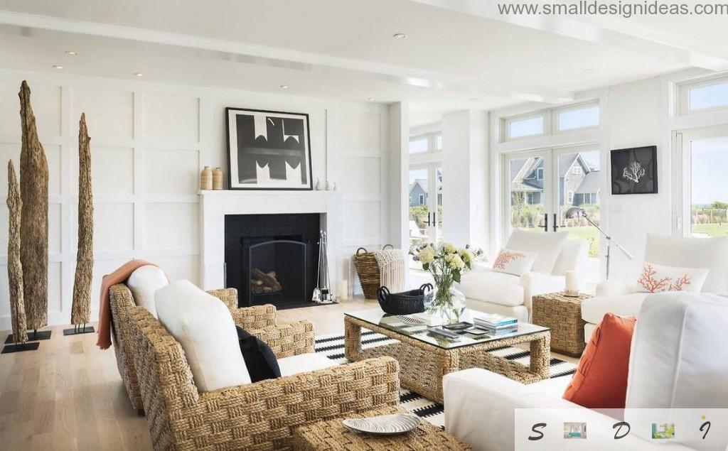 White and wooden color gamma of the living room with wicker furniture
