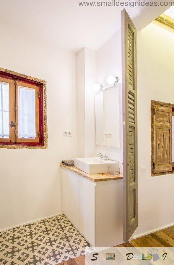the perspective view through the bathroom if the industrial studio apartment