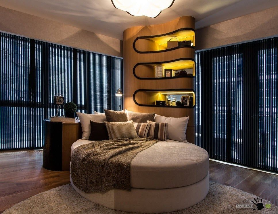 Singapore Apartment Modern Design Ideas. Unique rounded forms for the bedroom