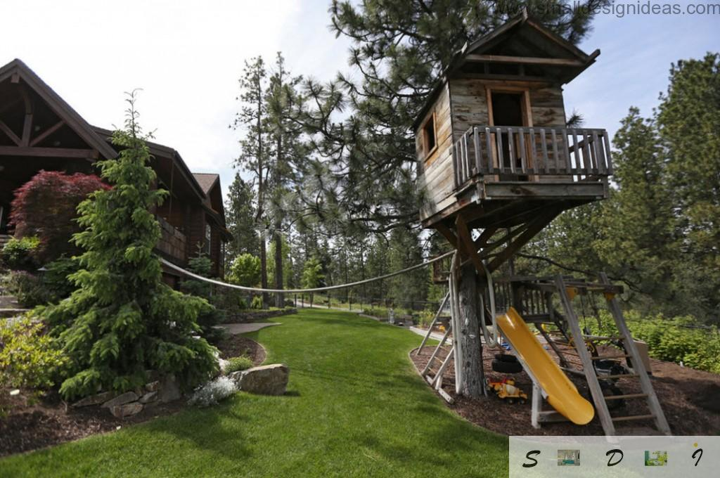 Tree house design and the rope to climb it and the chute for fast climb-down
