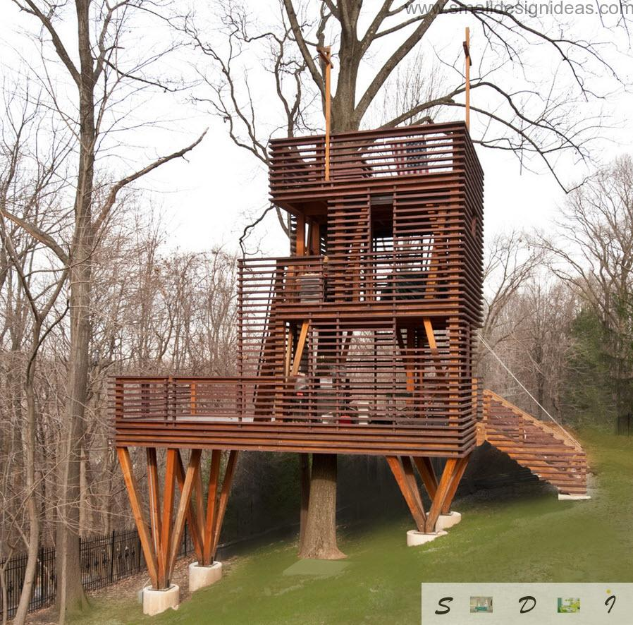 Tree arbor from the wall paneling