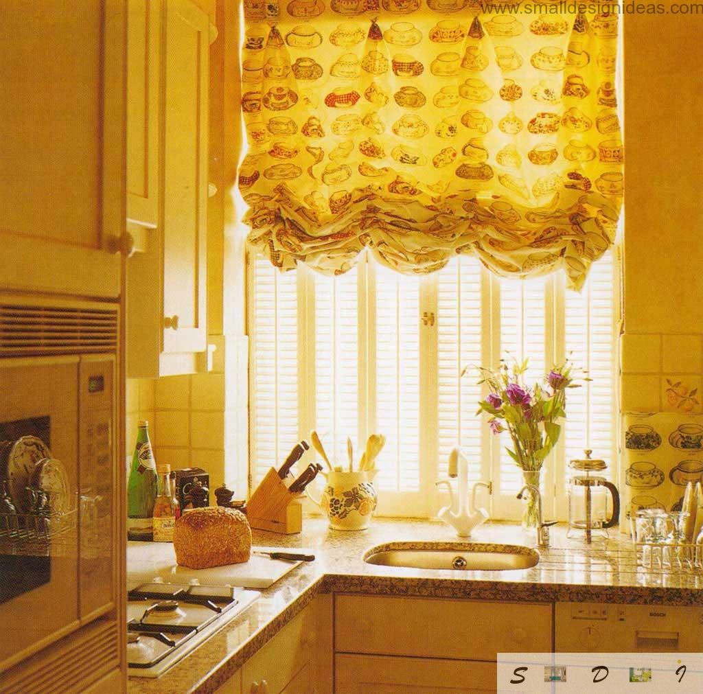 Small Kitchen atmosphere is warmed up with summer`s curtains