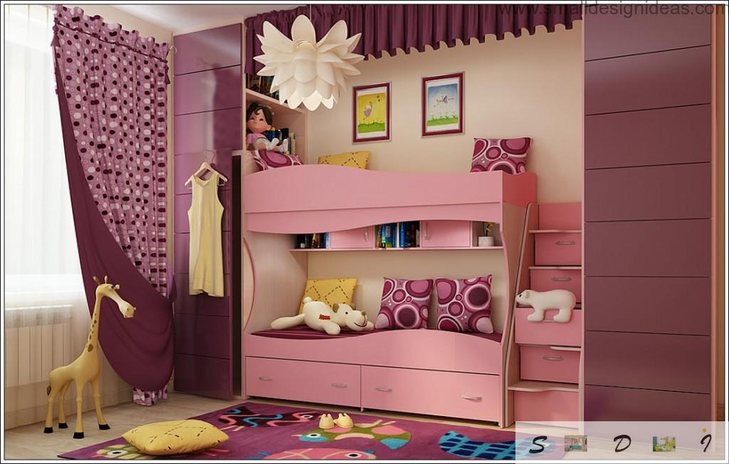 Children`s two-tiered bed-cabinet with step-shelving
