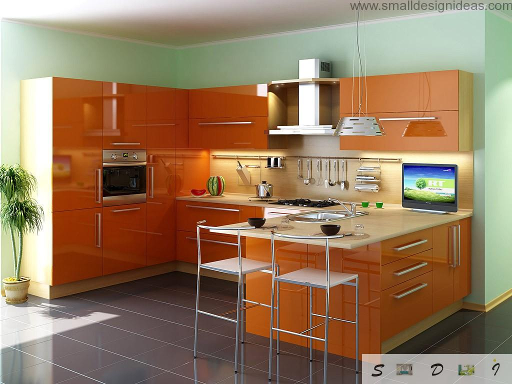 Colorful Design Ideas for Modern Kitchen in orange palette with glossy surfaces and plastic and glass furniture and appliances