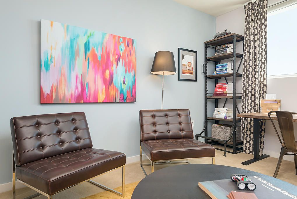 Modern and fashionable leather benches on the steel frame in San Francisco apartment