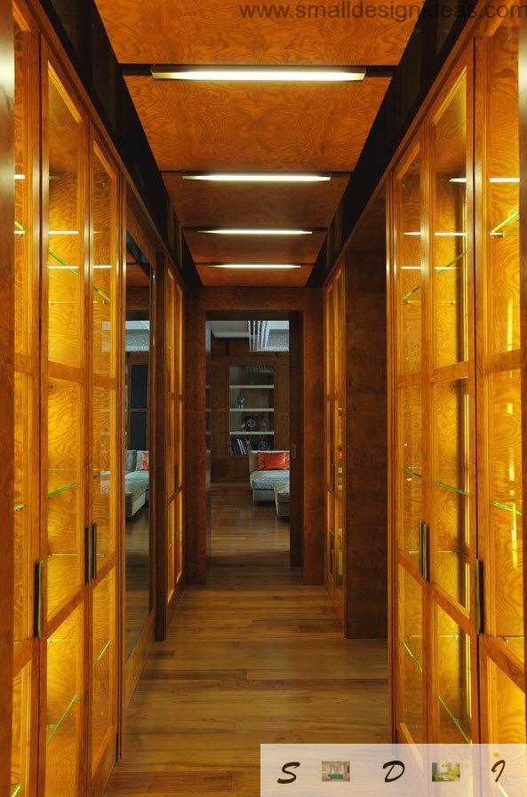 Real Moscow Flat Apartment Design Project. Hallway in the amber warm wooden tone a s a design idea for chic project