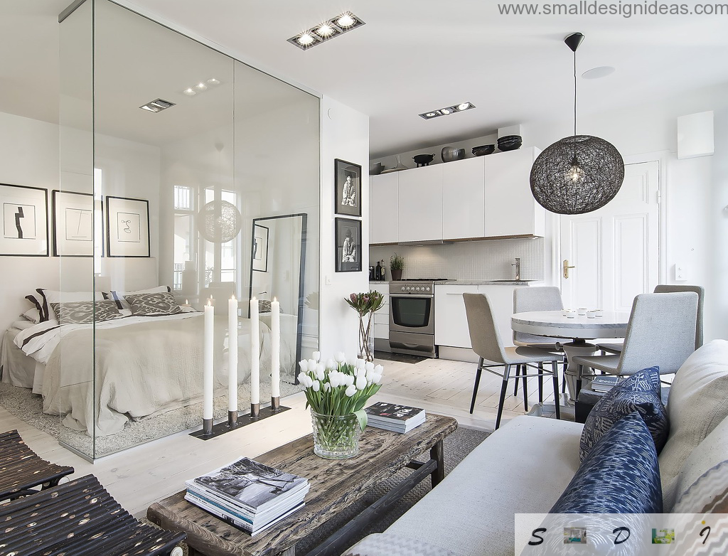 Great studio apartment design in white tones with glossy glass surfaces, fresh plants and even candles in the living zone