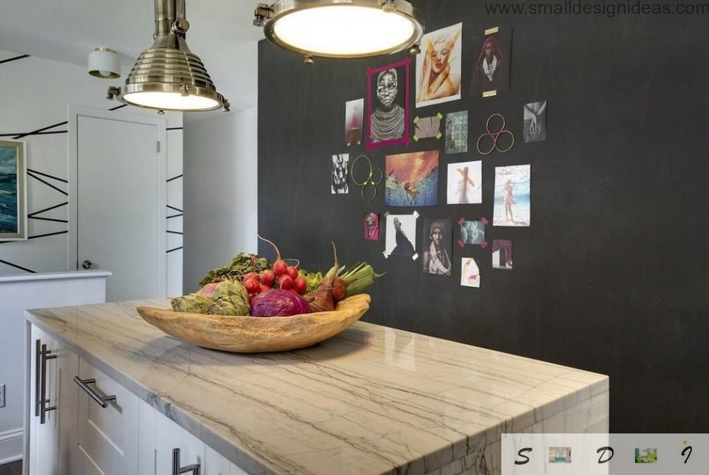 Writable black accent wall in the eclectic kitchen interior