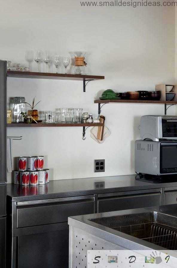 Light storage and minimum of appliance at the loft kitchen