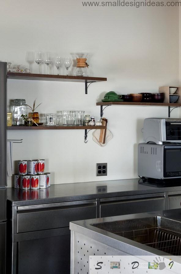 Light storage and minimum of appliance at the loft kitchen