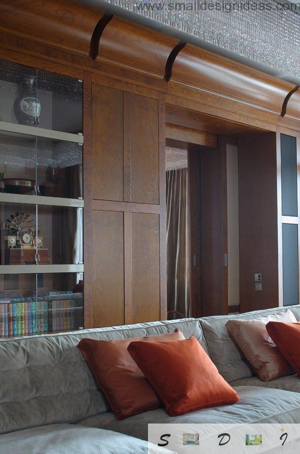 Wooden panels and facing of the real flat in the Moscow-city