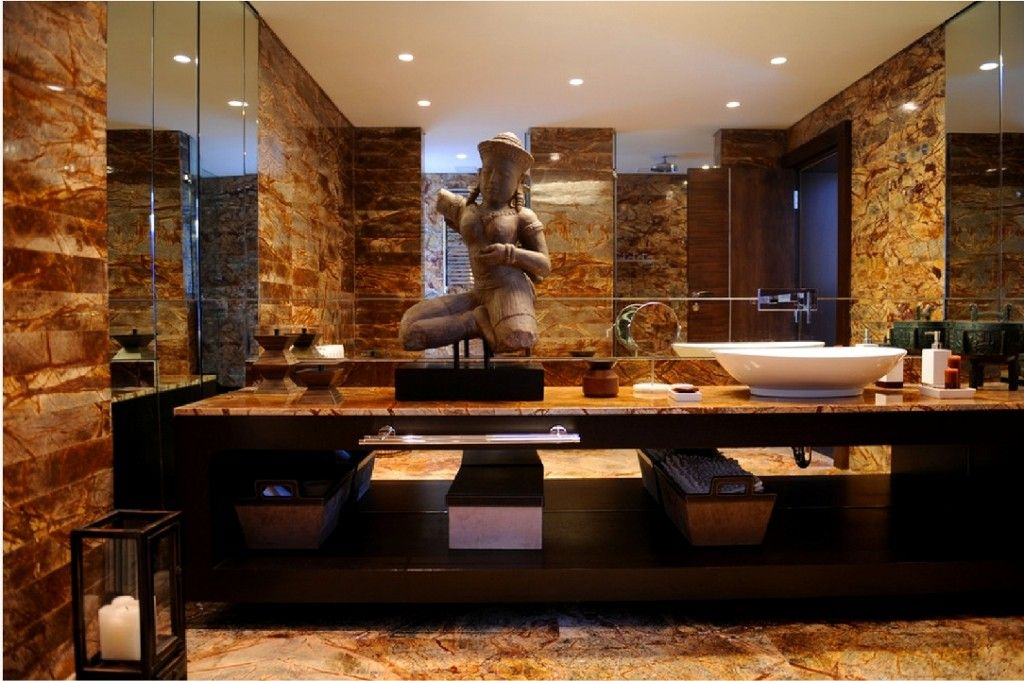Oriental Style Bathroom Design Ideas. Japanese bathroom with Indian influence