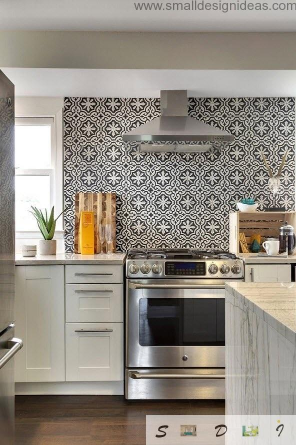 Built-in appliances act as monolith in eclectic kitchen